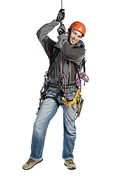 Mountain climber rappelling