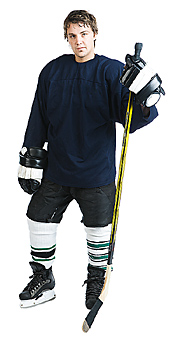 Hockey player posing