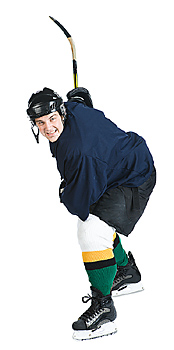 Hockey player in position