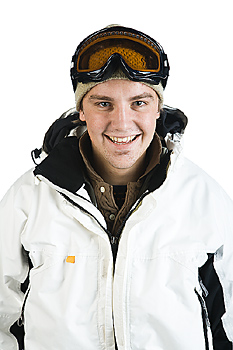 Man in winter jacket and ski goggles