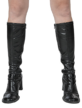 Cropped shot of woman's legs in black boots