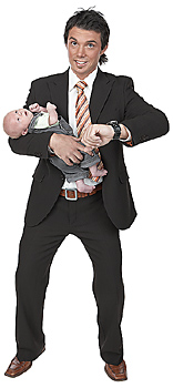 Man late for work holding baby