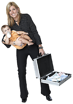 Woman with briefcase and baby