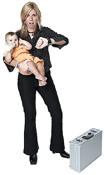 Stressed late mother with baby