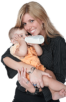Happy mother holding baby
