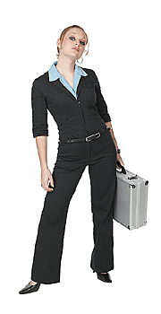 Young woman holding briefcase