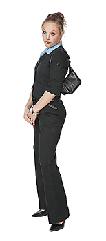 Woman posing with purse