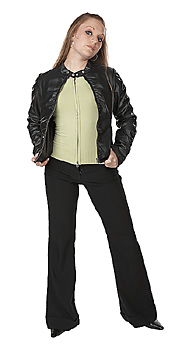 Young woman posing in leather jacket