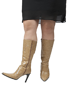 Legs of woman in leather boots