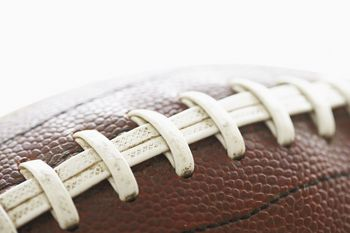 Close-up of football with laces