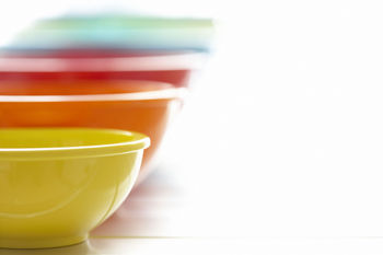 Set of colorful graduated mixing bowls