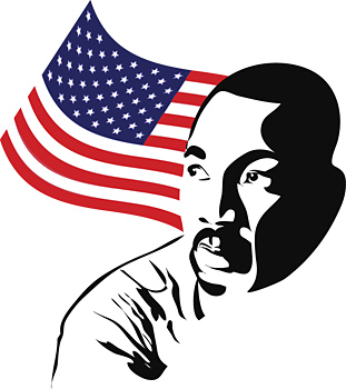 Martin Luther King, Jr. with American flag