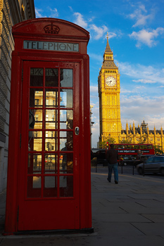 Big Ben and phone booth in London, England