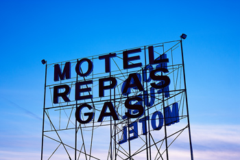 Sign for motel and gas
