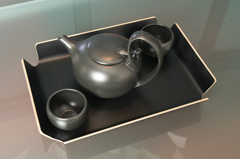 Teapot and cups on tray