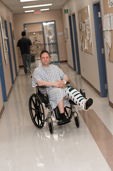 Portrait of a man in a wheelchair in hospital