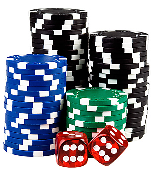 Stacks of poker chips with dice