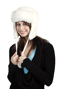 Portrait of woman with winter hat