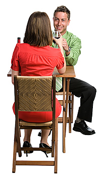 Couple sitting and having wine