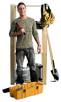 Man standing with toolbox
