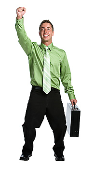 Businessman with briefcase and arm raised