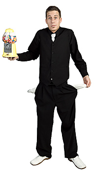 Man with empty pockets holding gumball machine