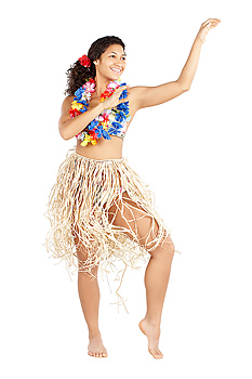 Woman with grass skirt