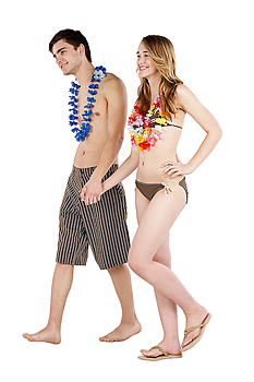 Couple in bathing suits