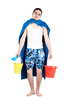 Man with a towel as a cape