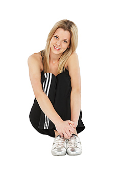 Smiling woman in exercise attire