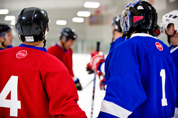 Back view of ice hockey players in rink
