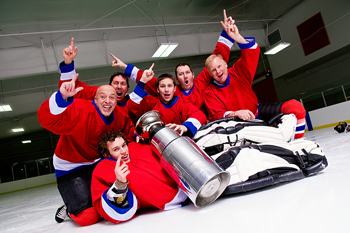Hockey players with a trophy