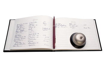 Registration book and bell