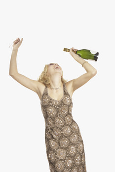 Woman with Bottle of Champagne Dancing