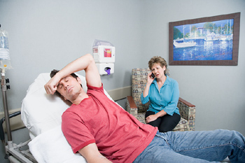 Patient and wife in hospital room