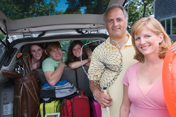 Family in van ready for vacation