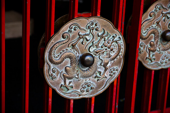 Red gate with Chinese dragon motif