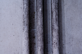 Metal pipes on wall