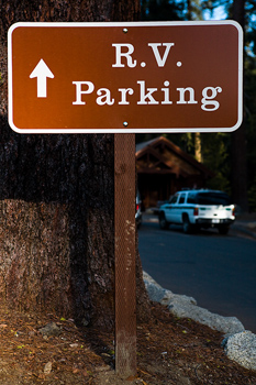 RV parking sign at Sequoia National Park, California