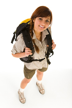 High angle view of smiling backpacker