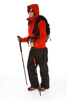 Woman hiker in winter outerwear