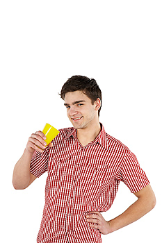 Smiling man drinking from cup