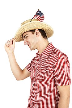 American flag in man's straw hat