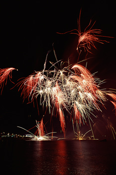 Fireworks at night in Montreal, Quebec, Canada