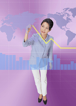 Businesswoman Tracing Line Graph on World Map