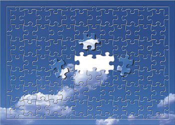 Jigsaw puzzle of blue sky with clouds