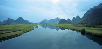 Agrarian landscape along river in China