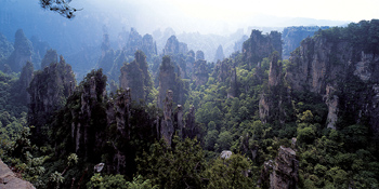 View of Huangshan mountains in China