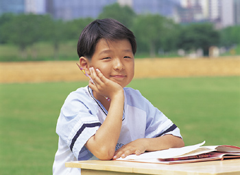 Boy studying in park