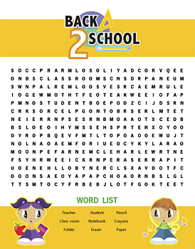 Word puzzle with back to school theme